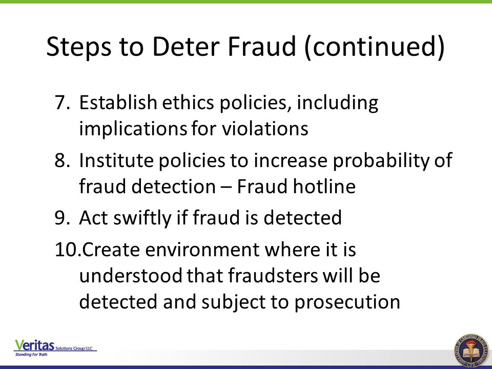 Steps to Deter Fraud (continued)