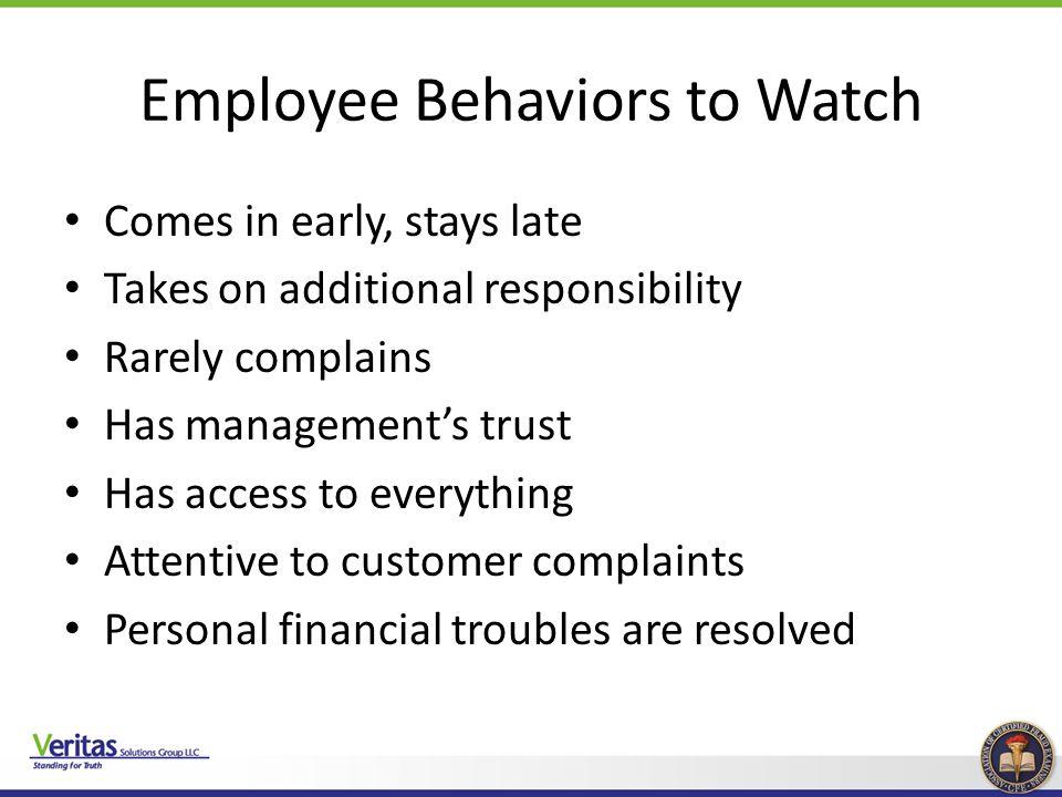 Employee Behaviors to Watch