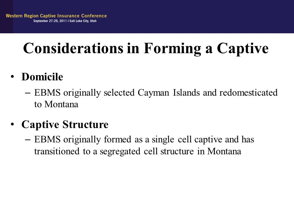 Considerations in Forming a Captive