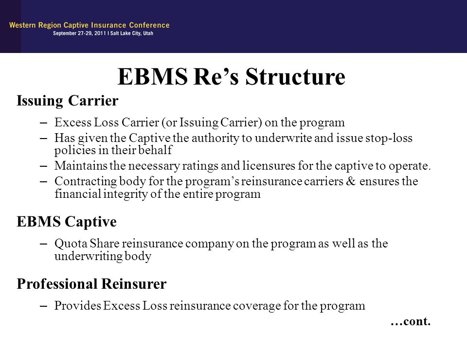 EBMS Re's Structure Issuing Carrier EBMS Captive