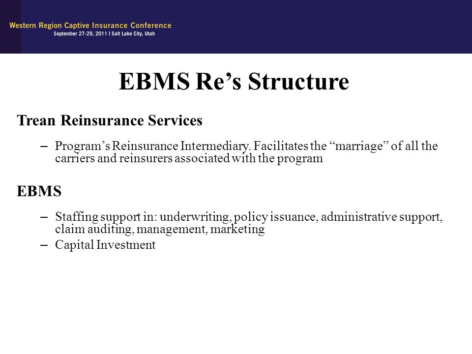 EBMS Re's Structure Trean Reinsurance Services EBMS