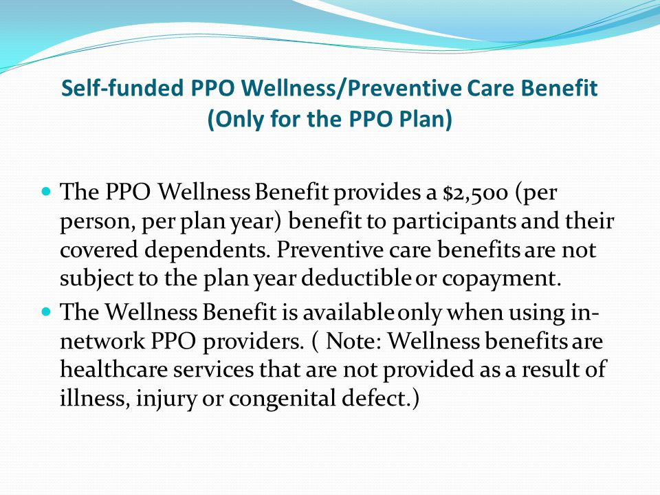 Self-funded PPO Wellness/Preventive Care Benefit (Only for the PPO Plan)