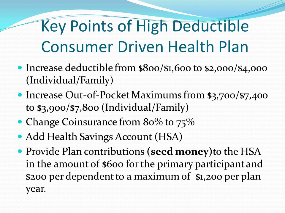 Key Points of High Deductible Consumer Driven Health Plan