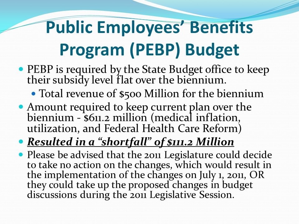 Public Employees' Benefits Program (PEBP) Budget