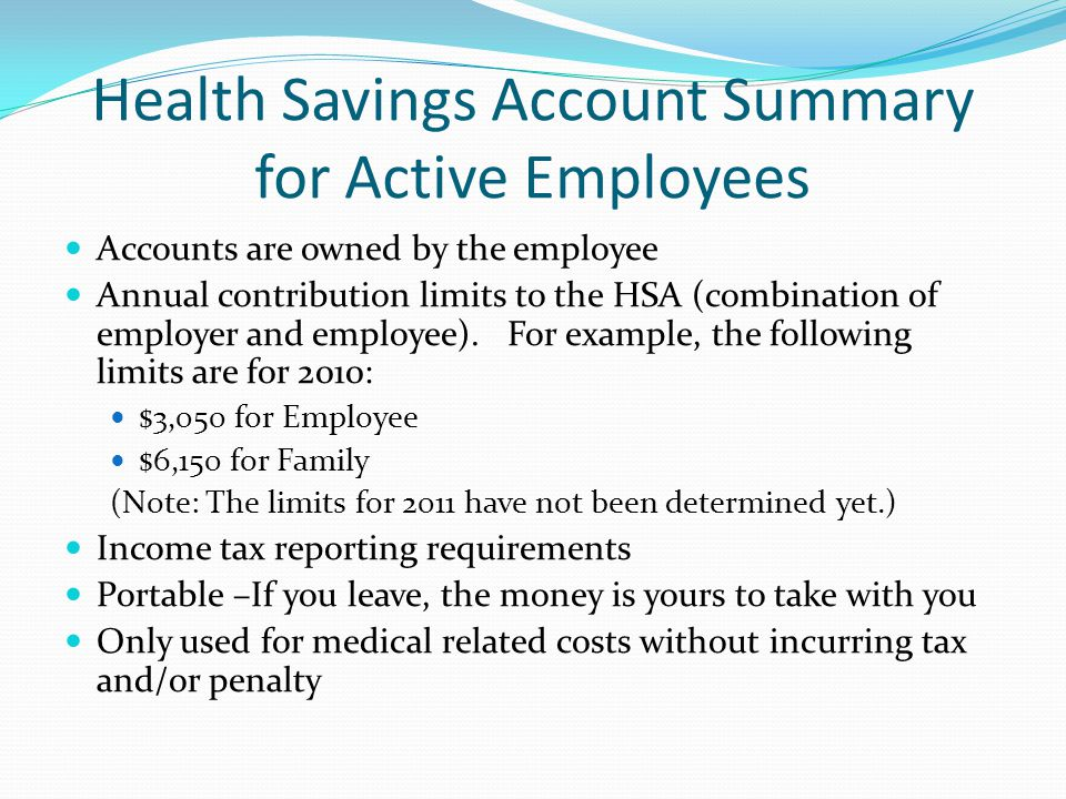 Health Savings Account Summary for Active Employees