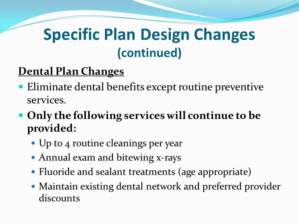 Specific Plan Design Changes (continued)