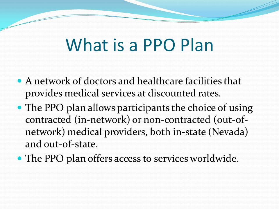 What is a PPO Plan A network of doctors and healthcare facilities that provides medical services at discounted rates.