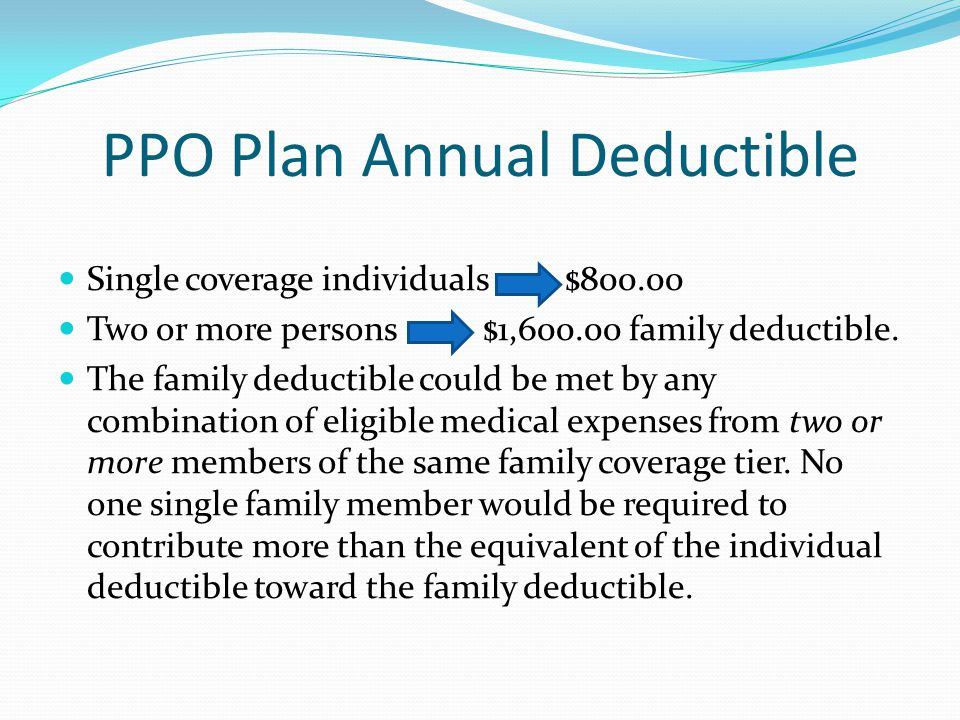 PPO Plan Annual Deductible
