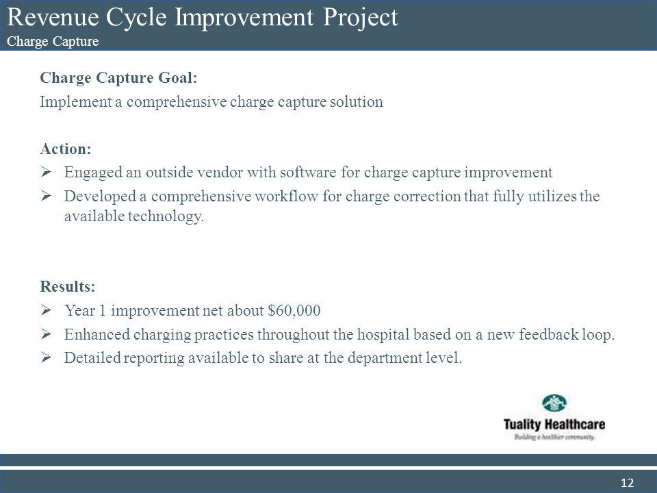 Revenue Cycle Improvement Project Charge Capture