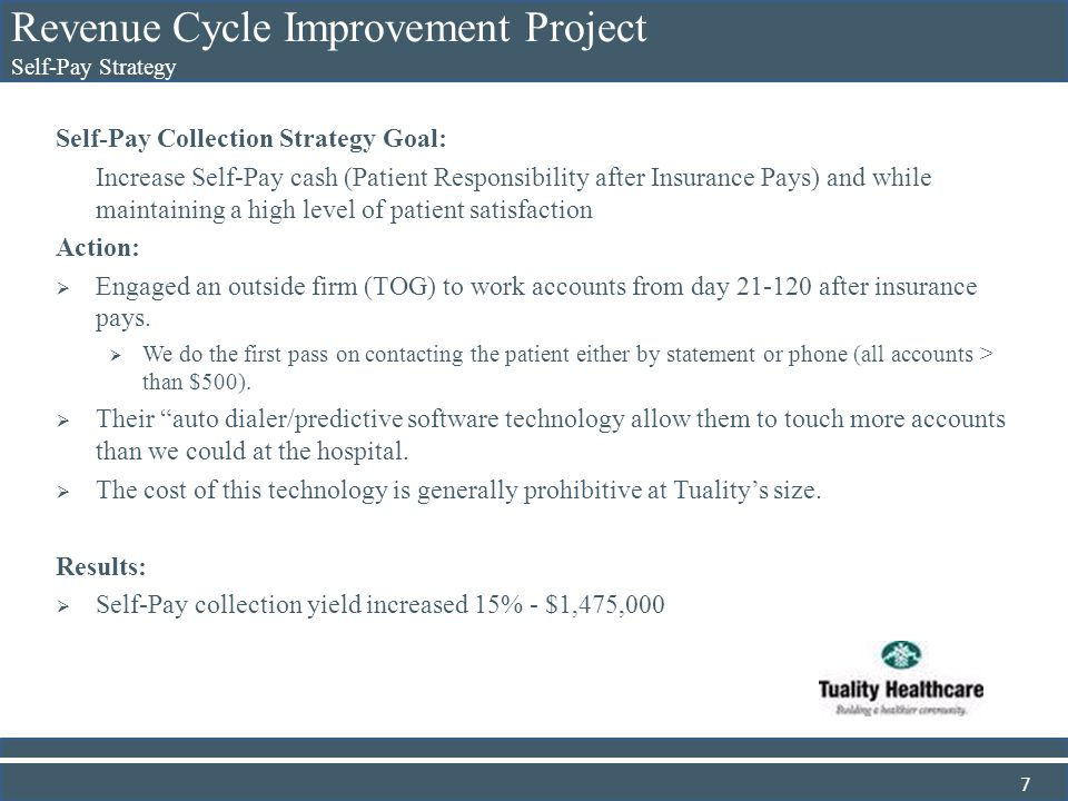 Revenue Cycle Improvement Project Self-Pay Strategy