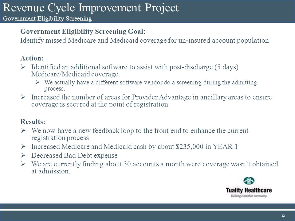 Revenue Cycle Improvement Project Government Eligibility Screening