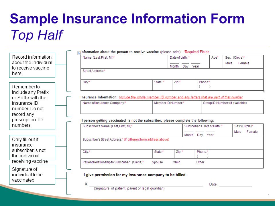 Sample Insurance Information Form Top Half