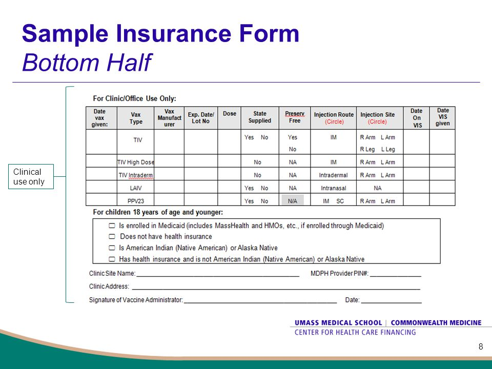 Sample Insurance Form Bottom Half