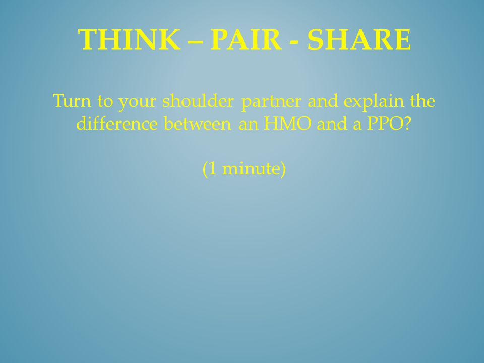 THINK – PAIR - SHARE Turn to your shoulder partner and explain the difference between an HMO and a PPO