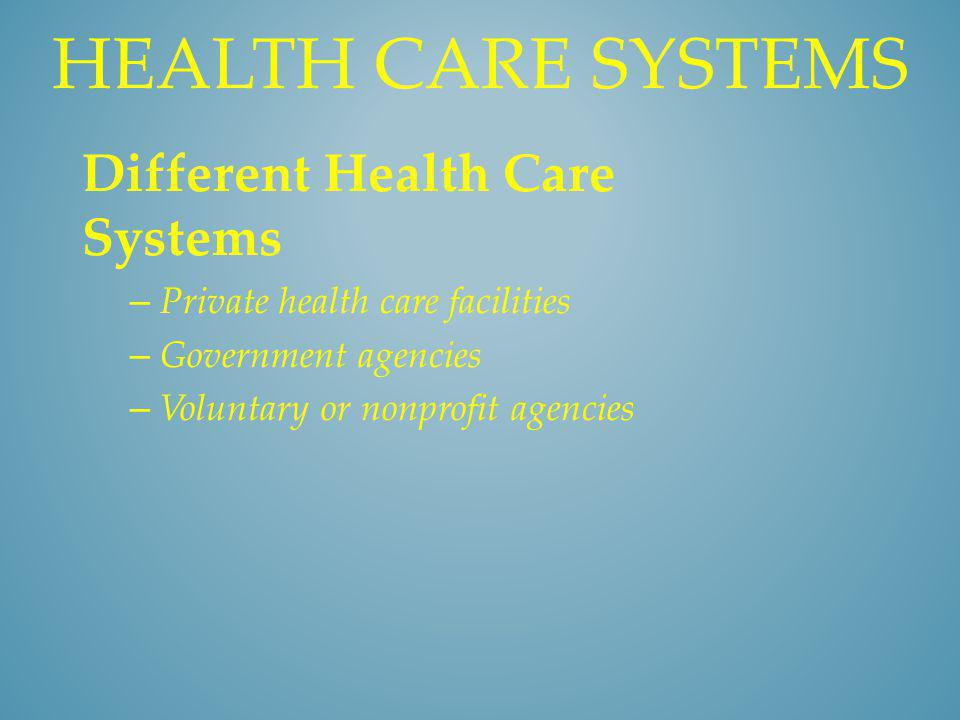 Health care systems Different Health Care Systems