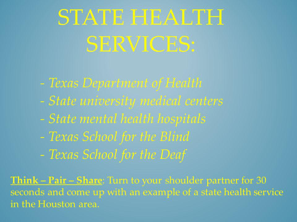 State health services: