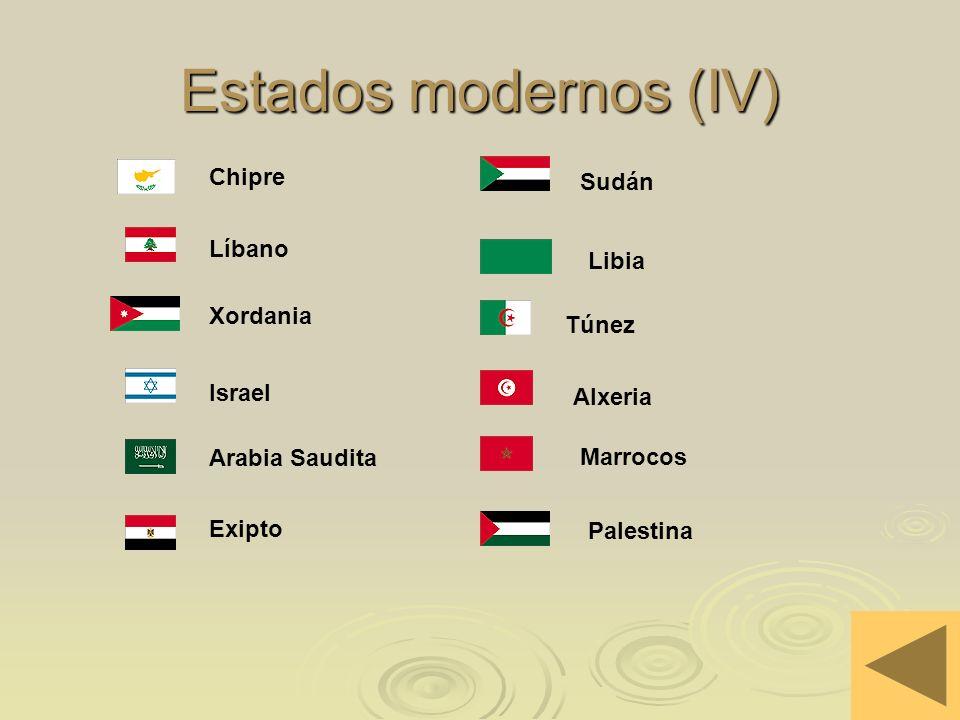 Estados modernos (IV) Chipre Sudán Líbano Libia Xordania Túnez Israel