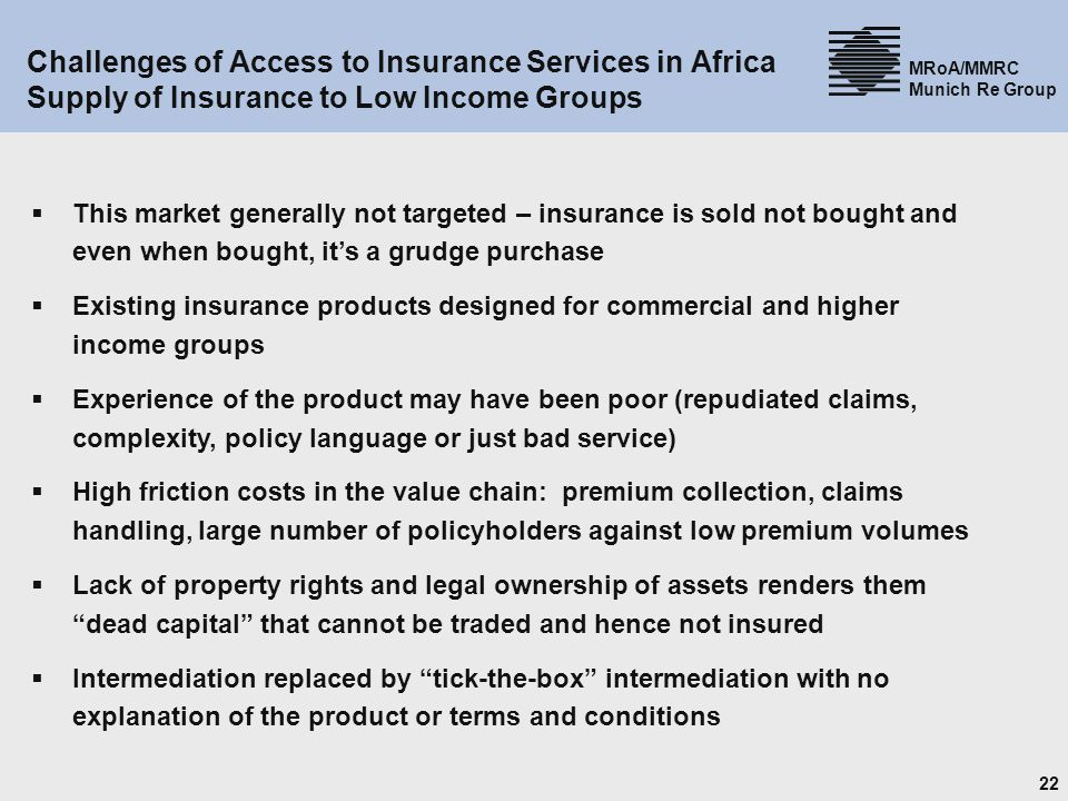 Challenges of Access to Insurance Services in Africa Supply of Insurance to Low Income Groups