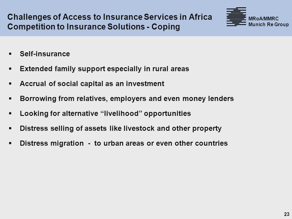 Challenges of Access to Insurance Services in Africa Competition to Insurance Solutions - Coping