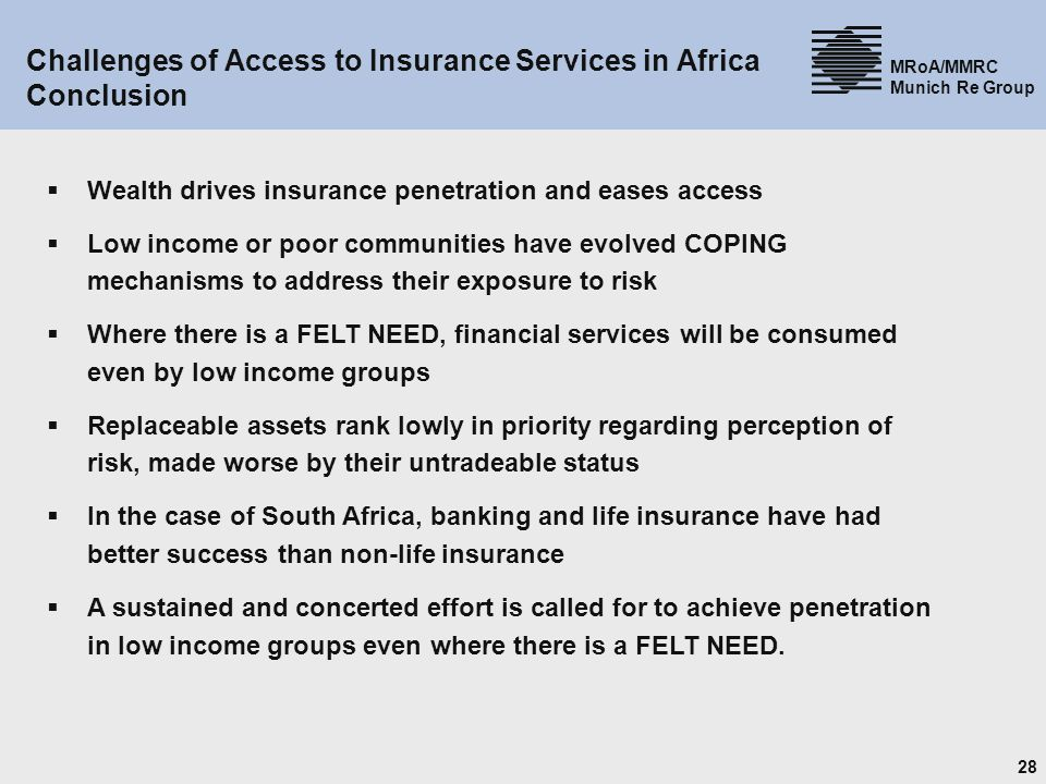 Challenges of Access to Insurance Services in Africa Conclusion