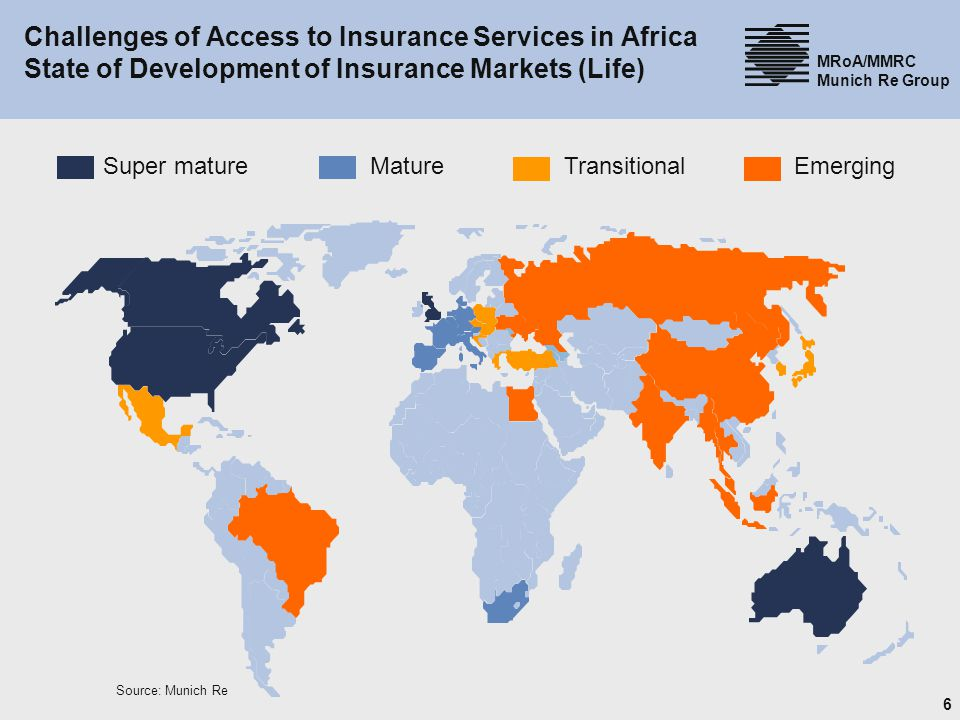 Challenges of Access to Insurance Services in Africa State of Development of Insurance Markets (Life)