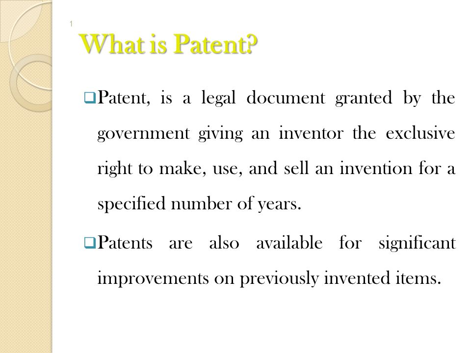 What is Patent
