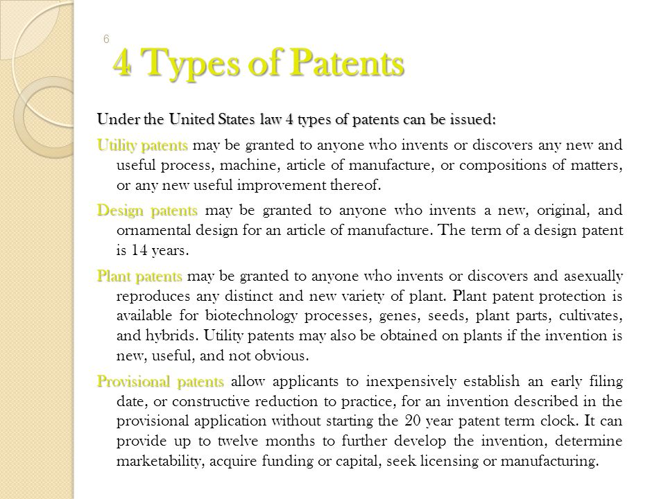 4 Types of Patents