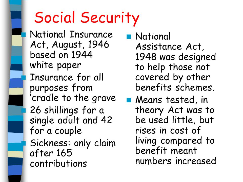 Social Security National Insurance Act, August, 1946 based on 1944 white paper. Insurance for all purposes from 'cradle to the grave.
