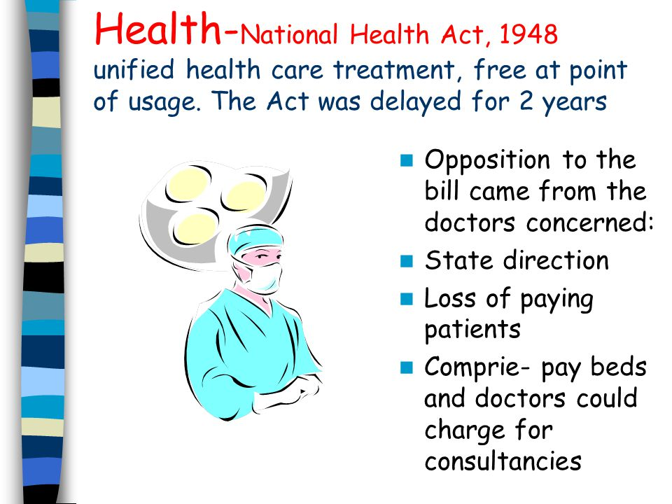 Health-National Health Act, 1948 unified health care treatment, free at point of usage. The Act was delayed for 2 years