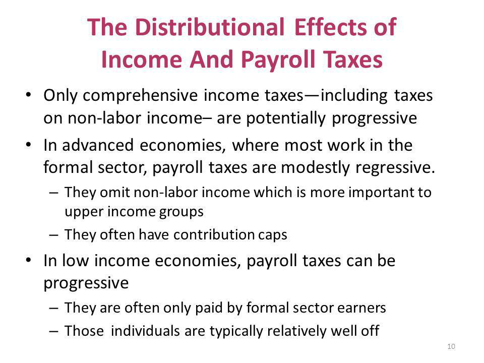 The Distributional Effects of Income And Payroll Taxes