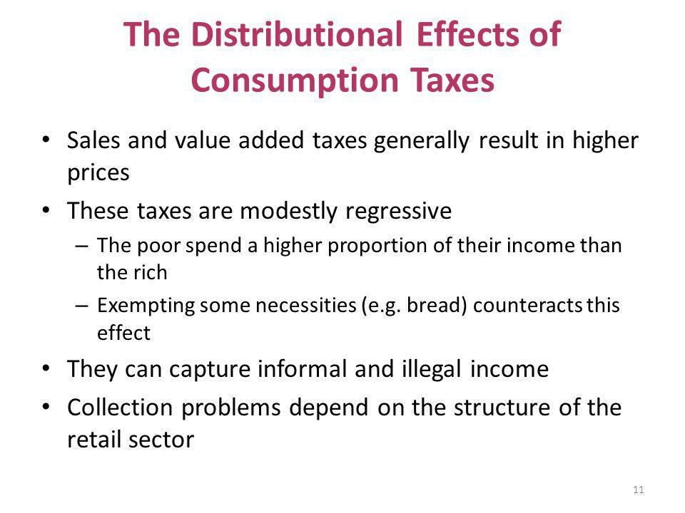 The Distributional Effects of Consumption Taxes