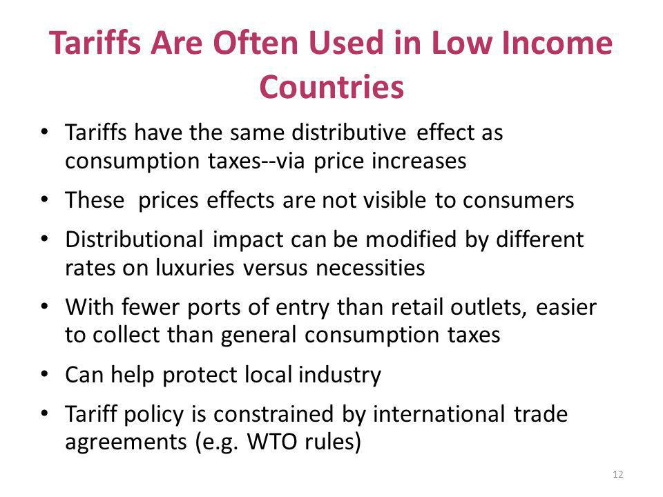 Tariffs Are Often Used in Low Income Countries