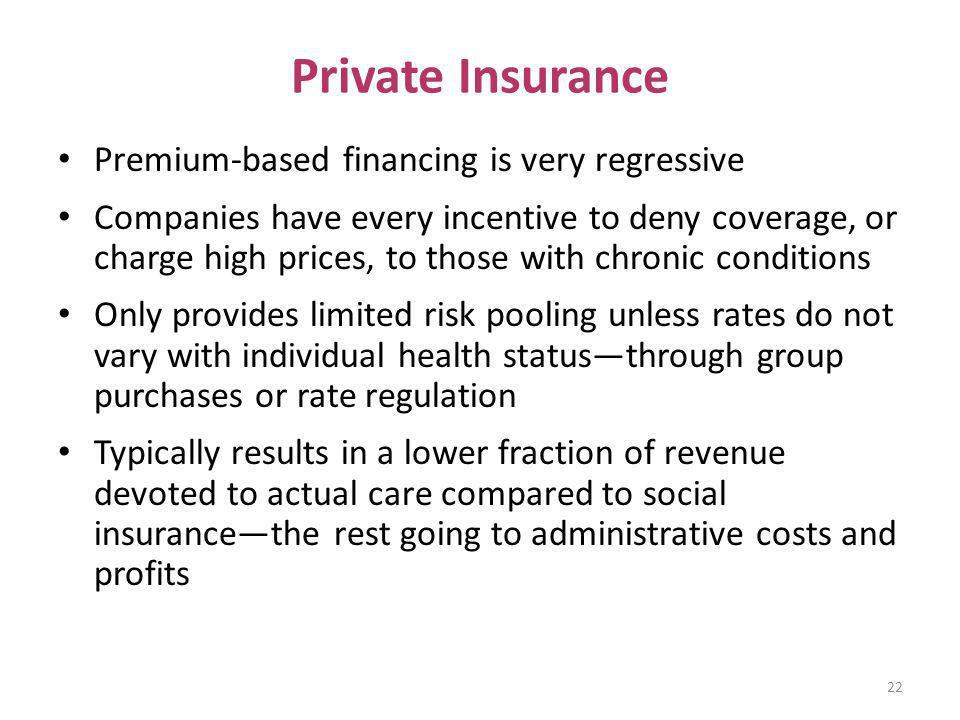 Private Insurance Premium-based financing is very regressive