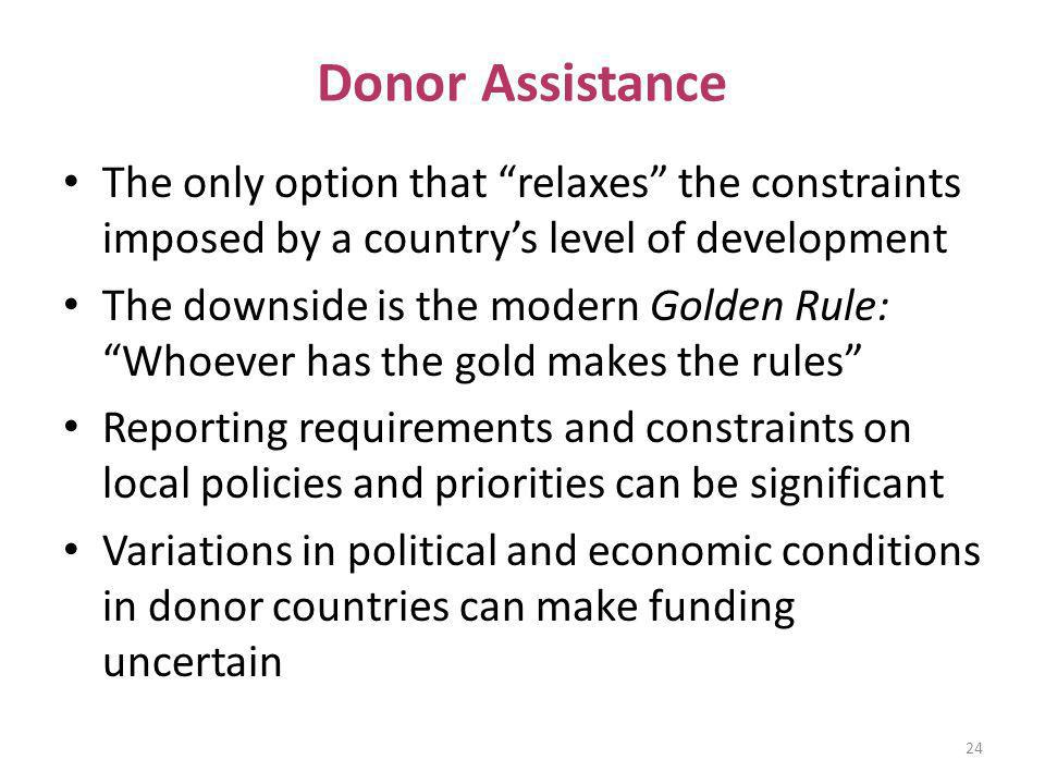 Donor Assistance The only option that relaxes the constraints imposed by a country's level of development.