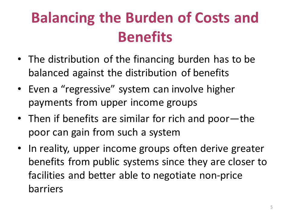 Balancing the Burden of Costs and Benefits