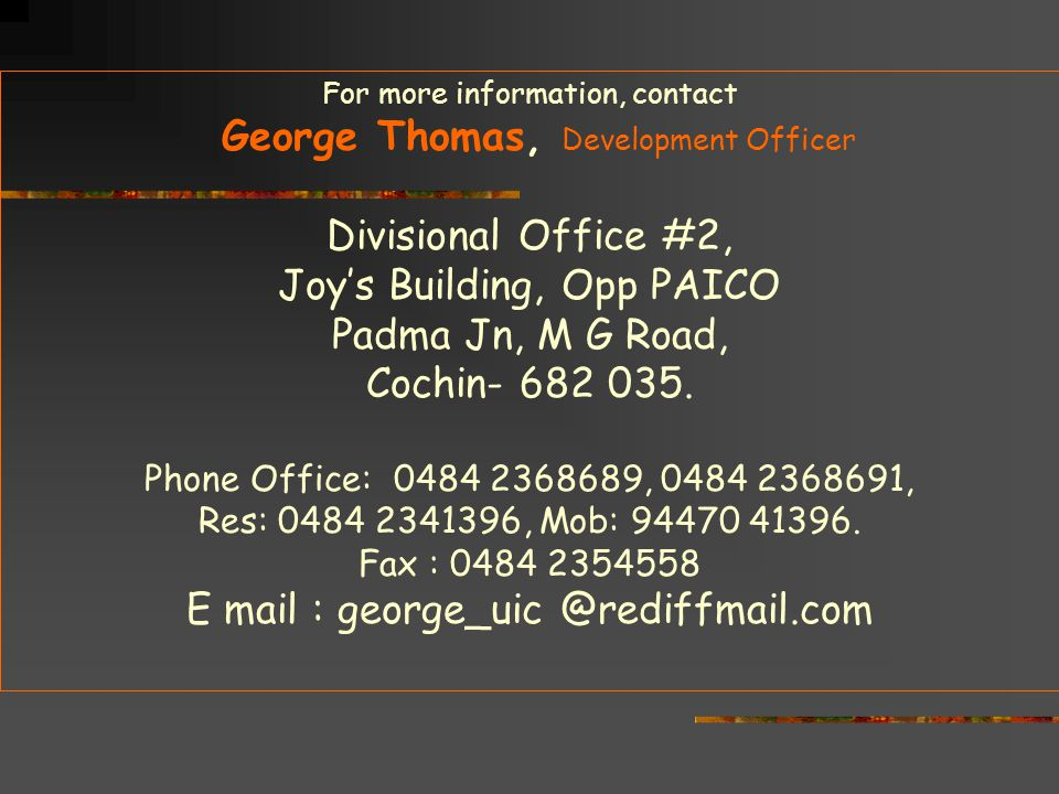 George Thomas, Development Officer Divisional Office #2,