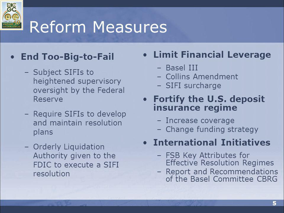 Reform Measures End Too-Big-to-Fail Limit Financial Leverage