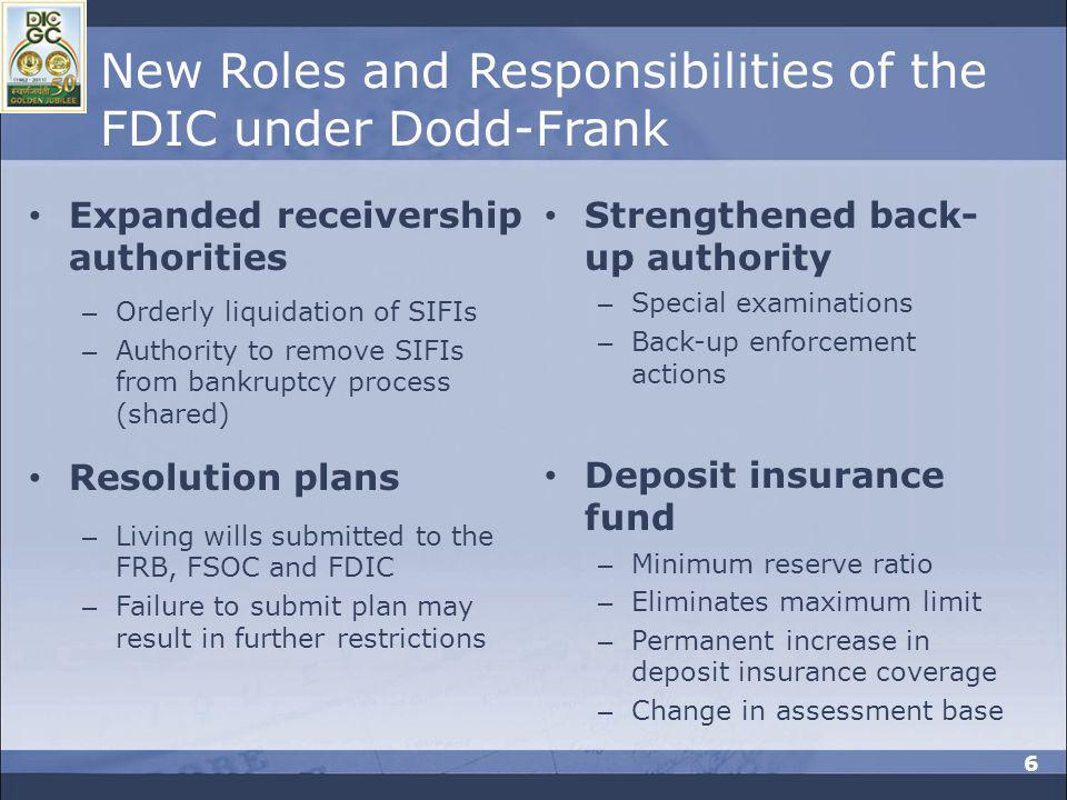 New Roles and Responsibilities of the FDIC under Dodd-Frank