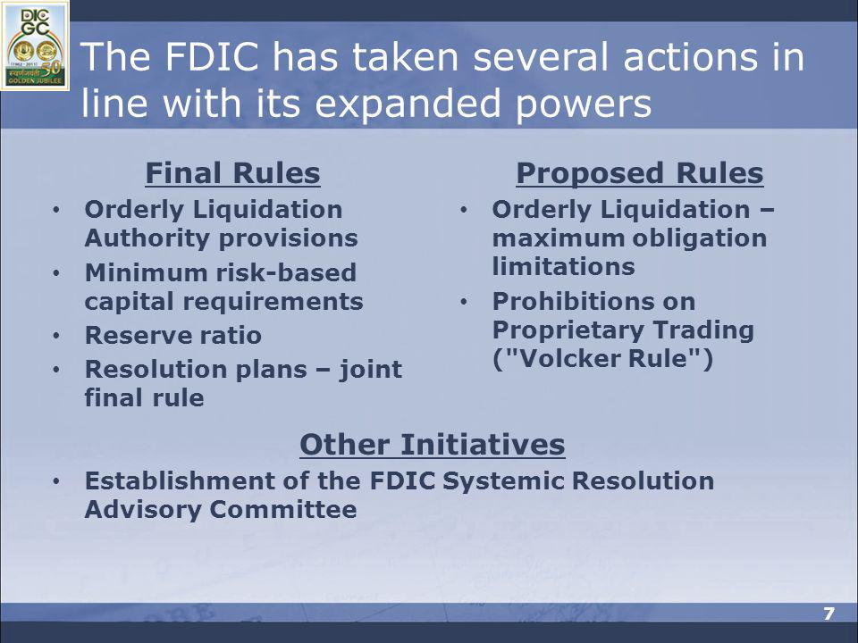 The FDIC has taken several actions in line with its expanded powers