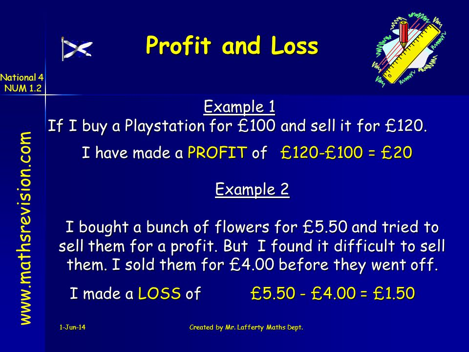 Profit and Loss www.mathsrevision.com Example 1