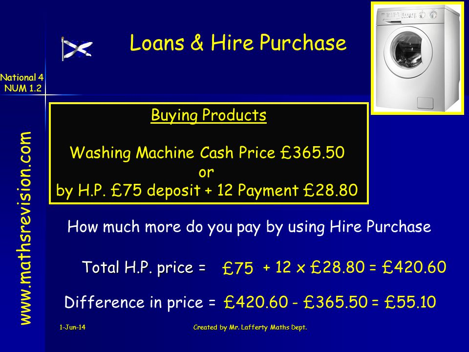Loans & Hire Purchase www.mathsrevision.com Buying Products