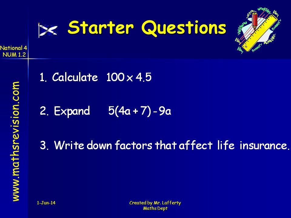 Starter Questions www.mathsrevision.com National 4 NUM 1.2 31-Mar-17