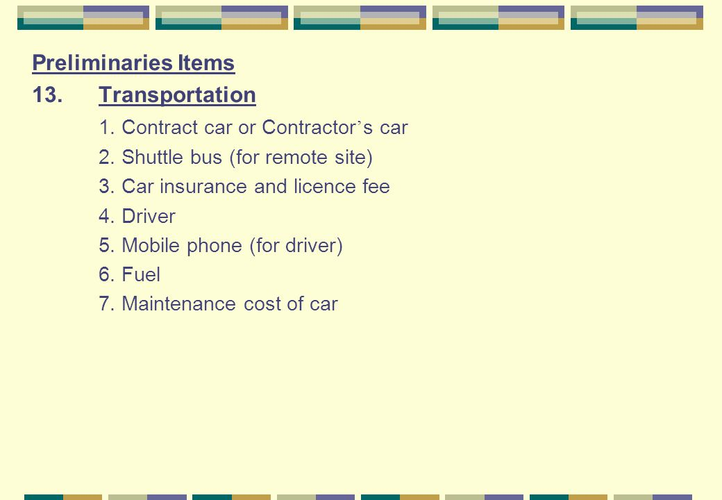 1. Contract car or Contractor's car