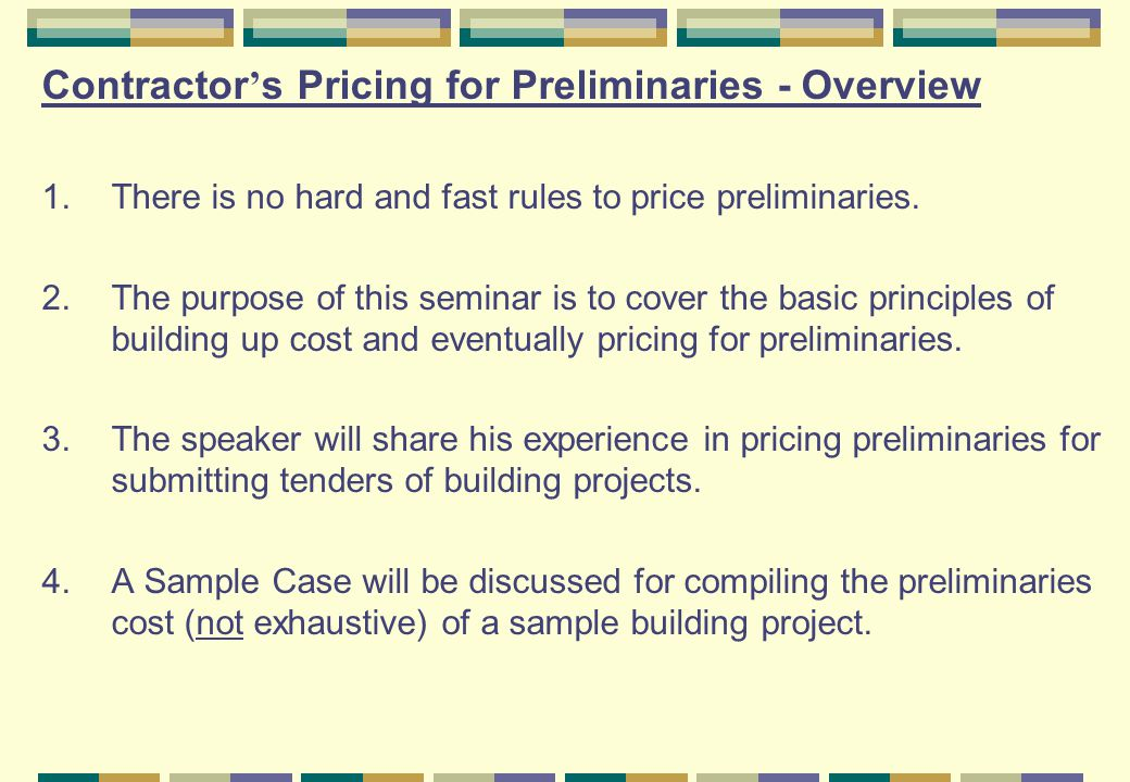 Contractor's Pricing for Preliminaries - Overview