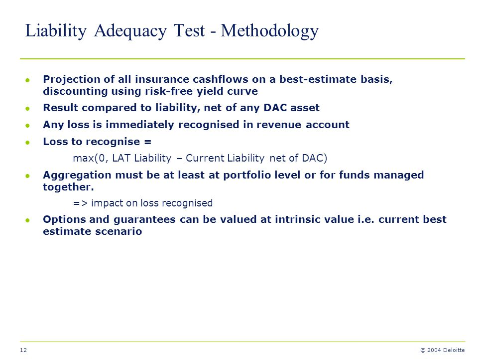 Liability Adequacy Test - Methodology