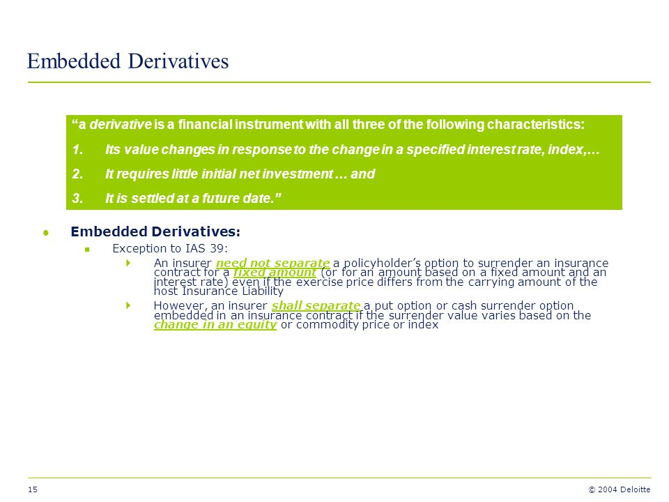 Embedded Derivatives Embedded Derivatives: Exception to IAS 39: