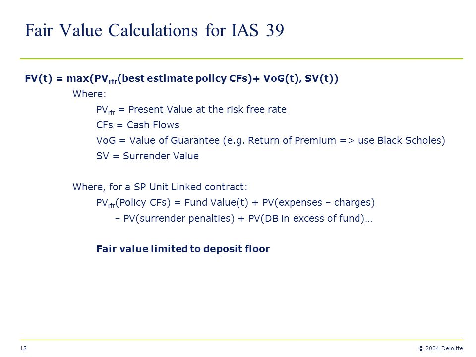 Fair Value Calculations for IAS 39