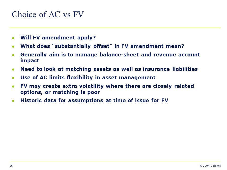 Choice of AC vs FV Will FV amendment apply