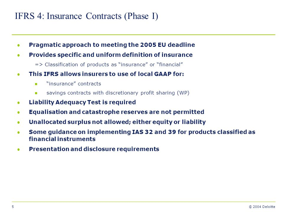 IFRS 4: Insurance Contracts (Phase I)