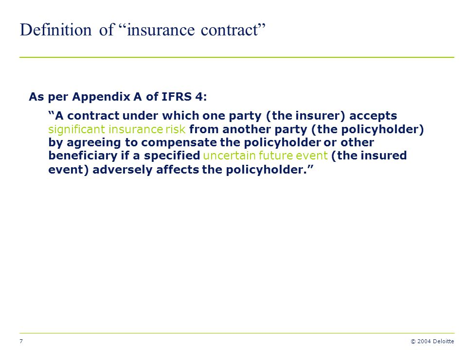 Definition of insurance contract